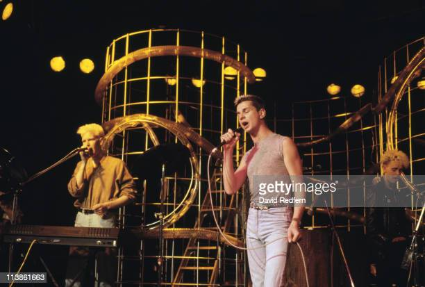 Depeche Mode British synthpop band during a live concert performance circa 1985