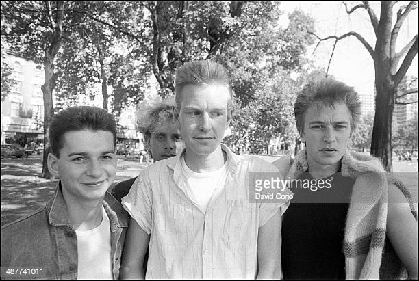 Depeche Mode grouo portrait Shepherd's Bush London 2 September 1982 Left to right Dave Gahan Martin Gore Andrew Fletcher Alan Wilder