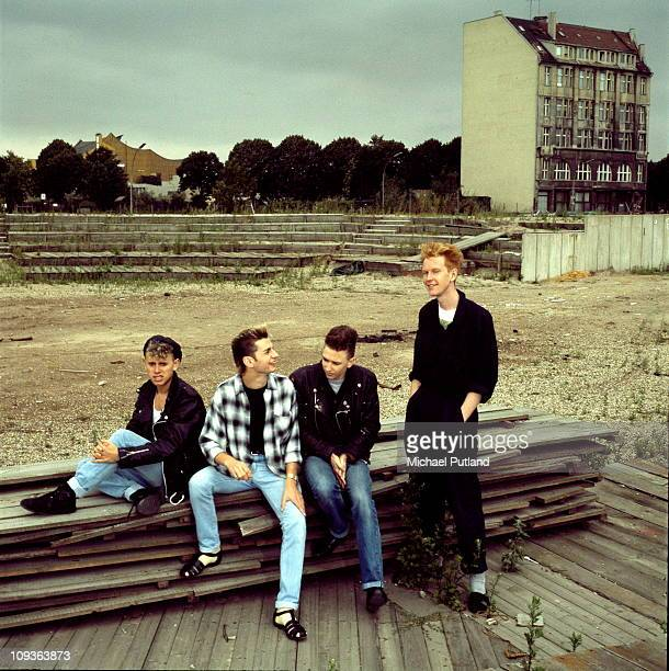Depeche Mode, group portrait, Berlin, July 1984, L-R Martin Gore, Dave Gahan, Alan Wilder, Andrew Fletcher.