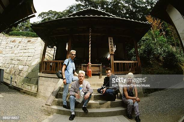 Depeche Mode group shot at Kiyomizu temple in Higashiyama Kyoto, Kyoto, April 1985.