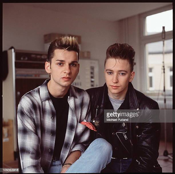 Depeche Mode in recording studio during the making of the Some Great Reward album Berlin July 1984 LR Dave Gahan Alan Wilder