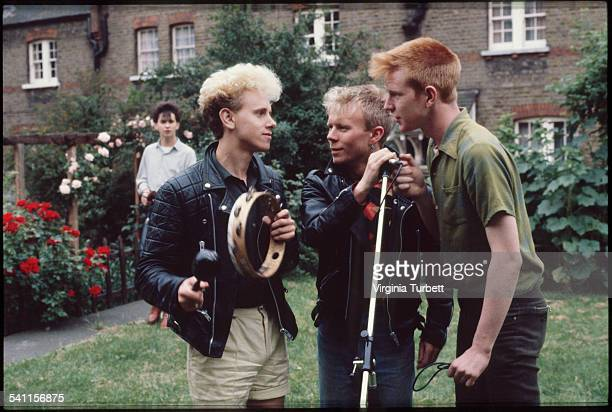 Depeche Mode in the grounds of Blackwing Studios London 17 June 1981 LR Dave Gahan Martin Gore Vince Clark Andy Fletcher
