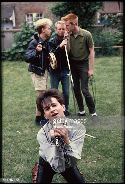 Depeche Mode in the grounds of Blackwing Studios London 17 June 1981 LR Martin Gore Vince Clark Andy Fletcher Dave Gahan