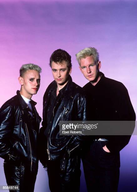 Depeche Mode photographed at the Jones Beach Theater in Long Island, New York on June 13, 1986. Martin Gore, Alan Wilder, and Andy Fletcher.