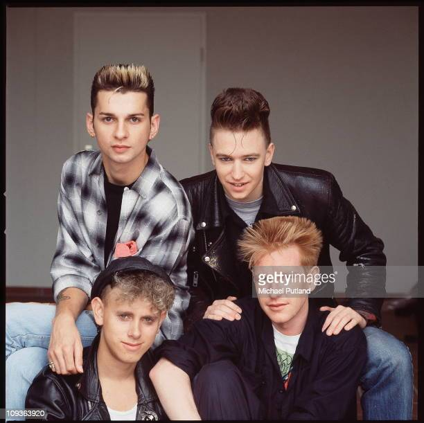 Depeche Mode, studio group portrait, Berlin, July 1984, clockwise from top left Dave Gahan, Alan Wilder, Andrew Fletcher, Martin Gore.