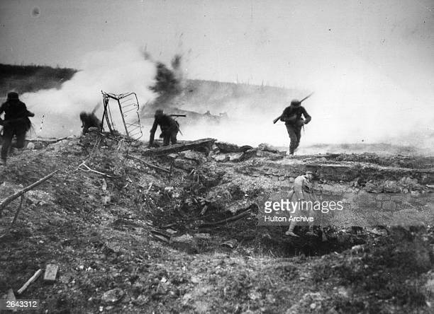A depiction of a German troop advance during the Second Battle of VillersBretonneux France April 1918 The scene is likely to have been staged...