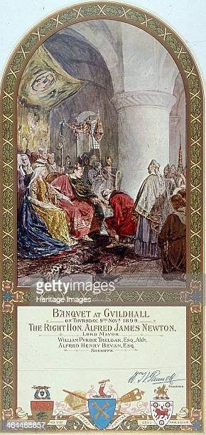 Depiction of a mural painting in the Royal Exchange London 1899 by J Seymour Lucas of William I granting the charter to the citizens of London