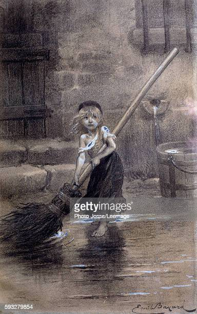 Depiction of Cosette sweeping barefoot Drawing for Victor Hugo 's 'Les Miserables' by the French illustrator Emile Bayard 19th century Victor Hugo's...