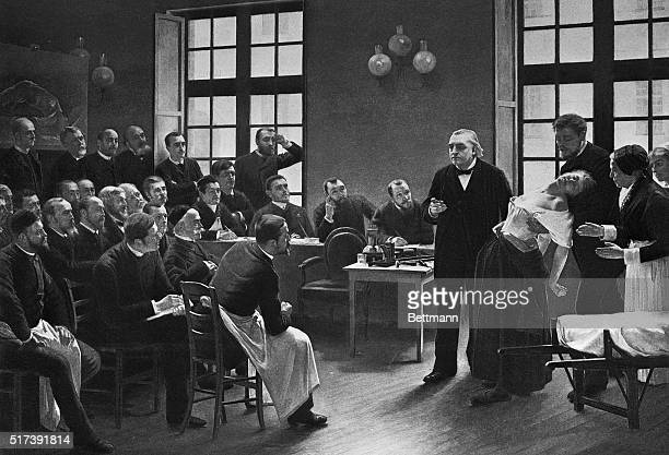 A depiction of Dr JeanMartin Charcot giving a clinical lecture on the symptoms of hysteria at the Salpetriere