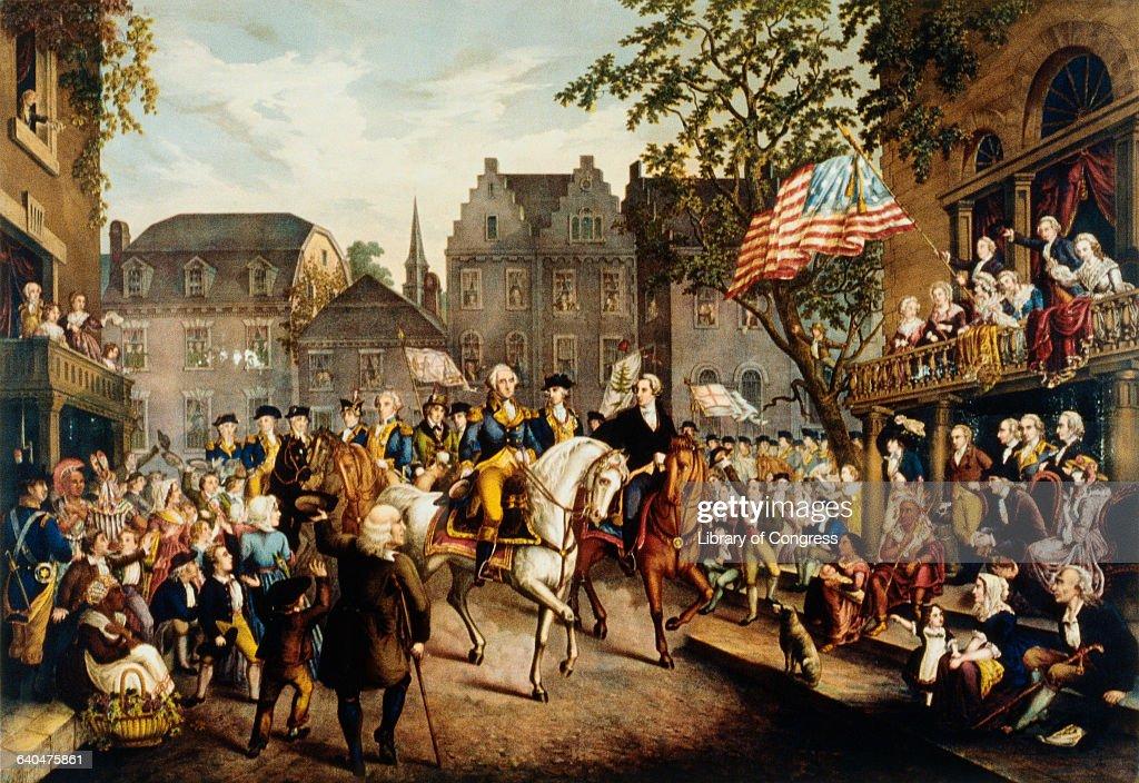 Washington's Triumphal Entry into New York, Nov. 25th, 1783 by C. Inger : News Photo
