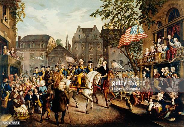 Depiction of George Washington riding into New York on November 25, 1783 to the cheers of a large crowd.