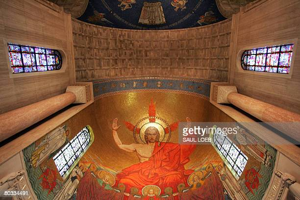 A depiction of Jesus is displayed in the Great Upper Church at the Basilica of the National Shrine of the Immaculate Conception on the campus of...