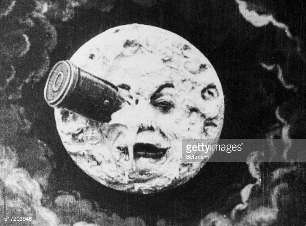 Depiction of Man in the Moon with a rocket in his eye from the 1914 silent animated film A Trip to the Moon directed by George Melies.