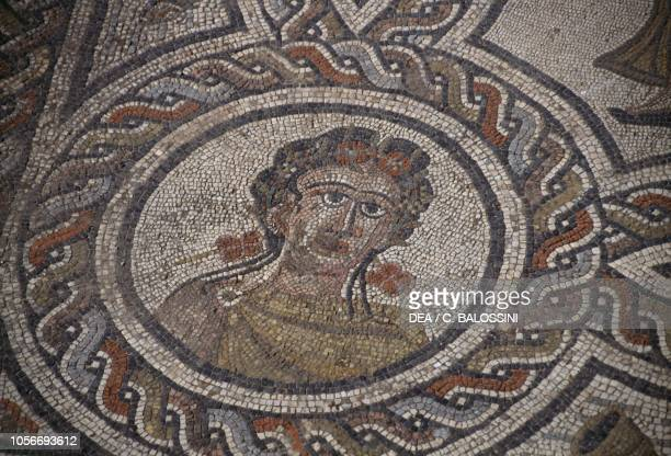 Depiction of Spring, detail from the mosaic in the House of Dionysus and Four Seasons, Roman city of Volubilis , Morocco. Roman civilisation, 3rd...