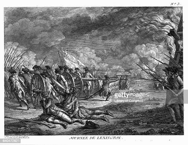 Depiction of the Battle of Lexington, April 19 the beginning of the American Revolution.