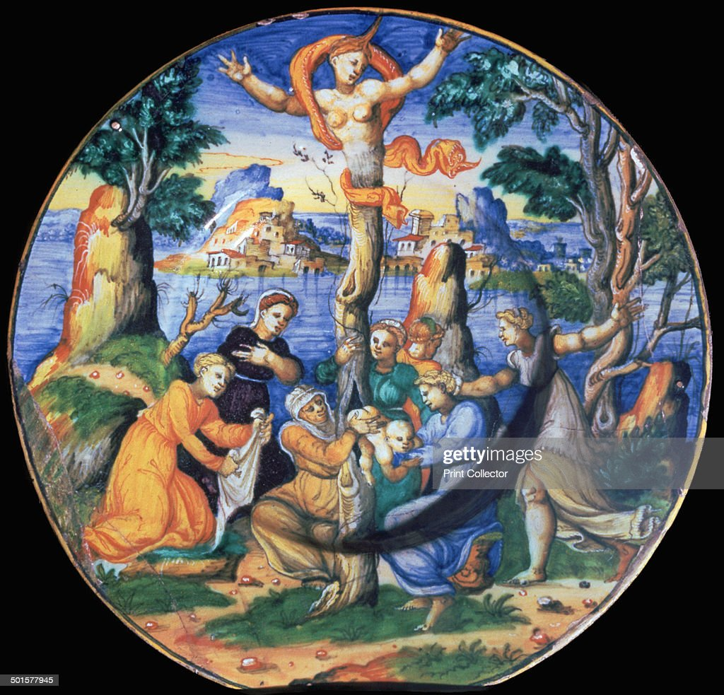 Italian earthenware plate showing the birth of Adonis, c.16th century. : News Photo
