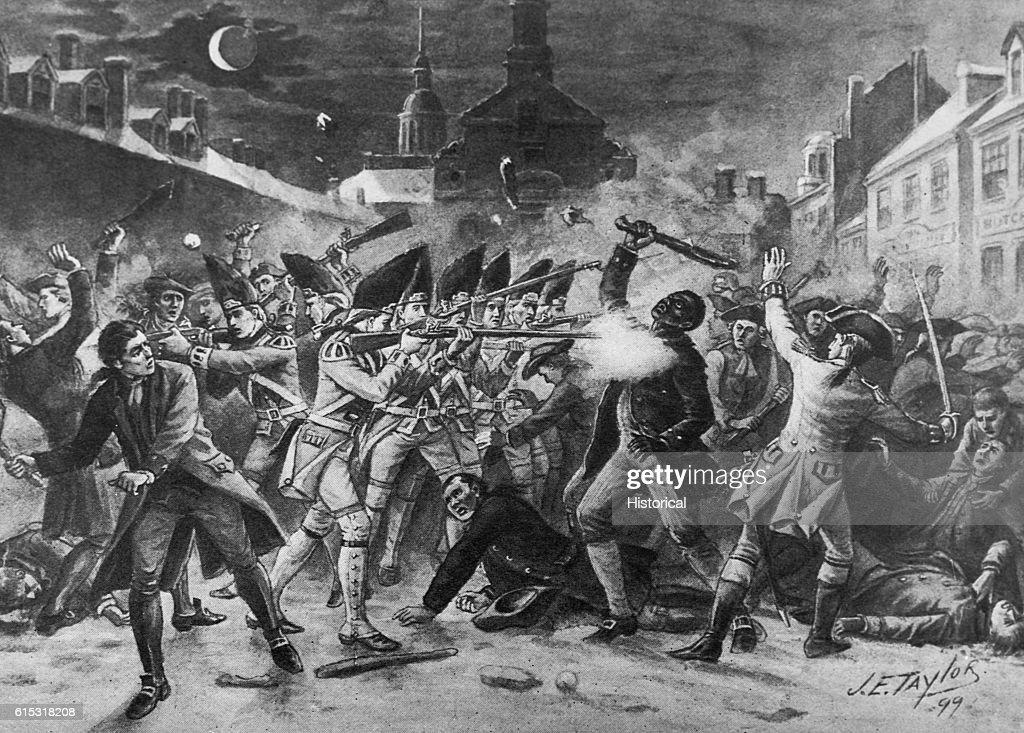 Death of Attucks, Boston Massacre by J.E. Taylor : News Photo