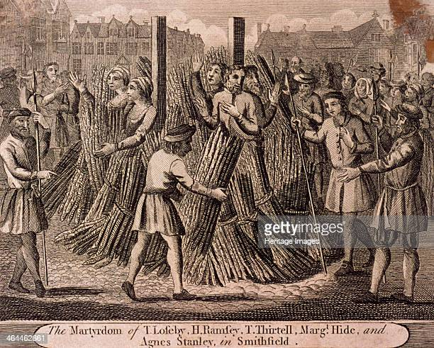 Depiction of the Protestant martyrs West Smithfield London c1750 T Loseby H Ramsey T Thirtell Margaret Hide and Agnes Stanley being burnt at the...