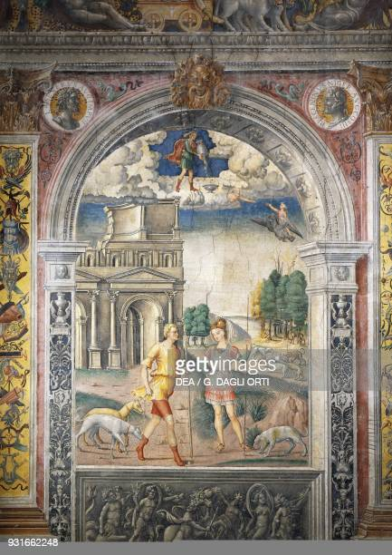 Depiction of the sign of Aquarius with Diana and the Hunter ca 1520 fresco by Giovanni Maria Falconetto Hall of the Zodiac Palazzo D'Arco Mantua...