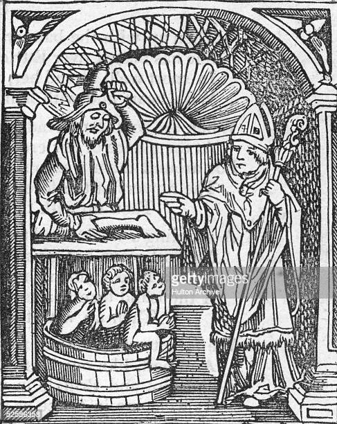 A depiction of the story of Saint Nicholas 4th Century Bishop of Myra and the wicked innkeeper circa 340 AD The innkeeper had robbed and murdered two...