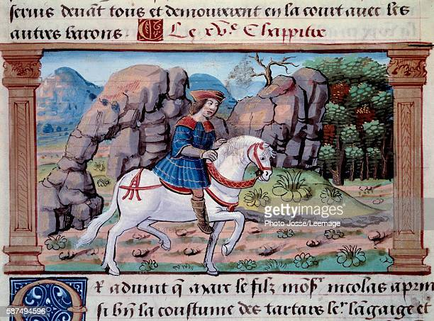 Depiction of the Venetian explorer Marco Polo on horseback Miniature from The Book of the Wonders of the World by Marco Polo 1298 Arsenal Library...