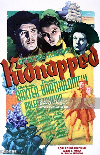 Depictions of Warner Baxter Arleen Whelan and Freddie Bartholomew on a poster for the 20th Century Fox adventure film 'Kidnapped' based on the novel...