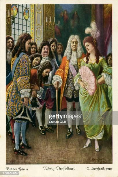 Depicts proud princess mocking and dismissing suitors including one man called King Drosselbart Caption on back reads 'Ein König hatte einst eine...