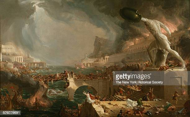 Depicts the destruction of a once glorious empire by battling armies and the volatile forces of nature including ominous thunderclouds, a...