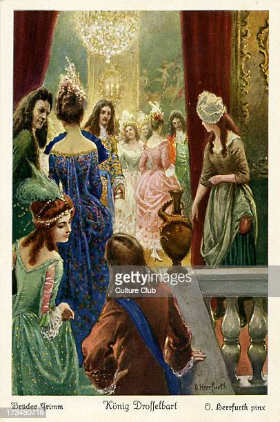Depicts the princess watching guests arrive for the wedding of the prince of the castle Caption on back reads 'Der Königstochter ging es auch als...