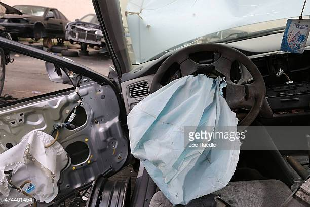 A deployed airbag is seen in a 2001 Honda Accord at the LKQ Pick Your Part salvage yard on May 22 2015 in Medley Florida The largest automotive...