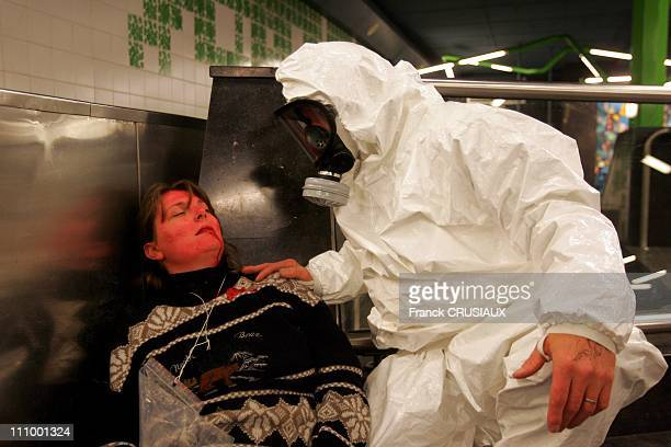 Deployment exercise of ways to fight against nuclear hazards radiological biological and Chemical in the subway of Lille Station House for Children...