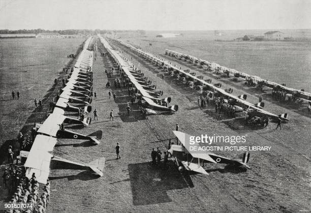 Deployment of 300 warplanes from Centocelle airport Rome Italy from L'Illustrazione Italiana Year L No 45 November 11 1923