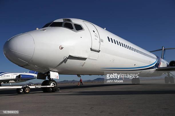 A deportation flight carrying Honduran immigration detainees prepares to fly to San Pedro Sula Honduras on February 28 2013 from Mesa Arizona US...