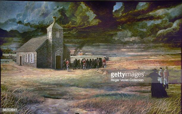 Deportation of Acadian by the English Painting of the acadian village of Lafayette RVB10624