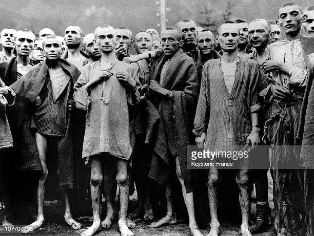 Deportees Who Survived The Death Marches Of The Massacre Of Gardelegen Perpetrated By The Nazis On The Run. In April 1945. They Are Prisoners Of The...