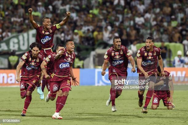 Deportes Tolima players celebrate after winning the Colombian League final game by penalties against Atletico Nacional at Atanasio Girardot stadium...