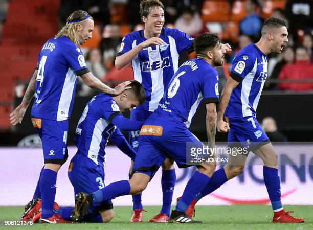 Deportivo Alaves' forward Ruben Sobrino celebrates a goal during the Spanish 'Copa del Rey' football match between Valencia CF and Deportivo Alaves...