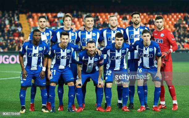 Deportivo Alaves lines up prior to start the Spanish Copa del Rey match Round of 8 match between Valencia CF and Deportivo Alaves at Estadio de...