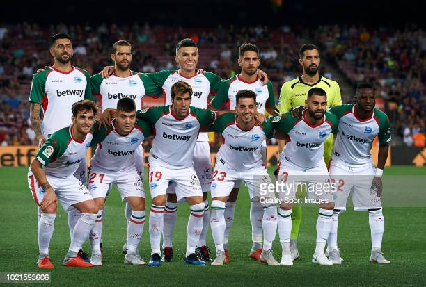Deportivo Alaves team line up prior the La Liga match between FC Barcelona and Deportivo Alaves at Camp Nou on August 18 2018 in Barcelona Spain