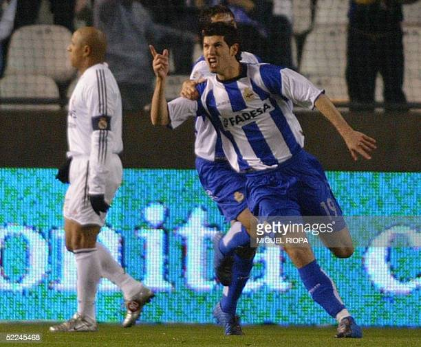 Deportivo Coruna's Albert Luque celebrates after scoring against Real Madrid during a spanish first league football match at Riazor stadium in Coruna...