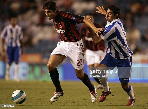 Deportivo Coruna's Arbeloa vies with AC Milan's Kaka during their LXI Teresa Herrera's tournament final football match at the Riazor Stadium in...