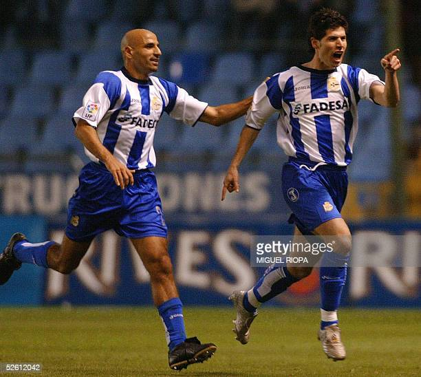 Deportivo Coruna's player Albert Luque celebrates with his teammate Manuel Pablo after scoring against Villarreal during the Spanish first league...
