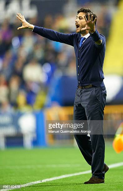 Deportivo de La Coruna manager Victor Sanchez del Amo gives instructions during the La Liga match between Levante UD and RC Deportivo de La Coruna at...