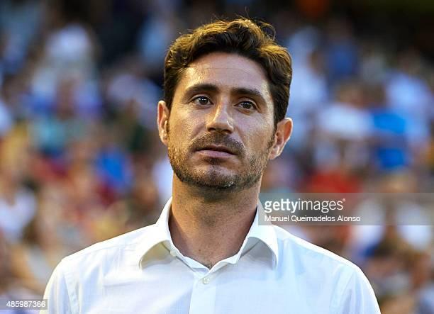 Deportivo de La Coruna manager Victor Sanchez del Amo looks on prior to the La Liga match between Valencia CF and RC Deportivo de La Coruna at Estadi...