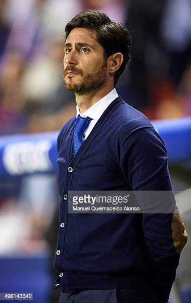 Deportivo de La Coruna manager Victor Sanchez del Amo looks on prior to the La Liga match between Levante UD and RC Deportivo de La Coruna at Ciutat...