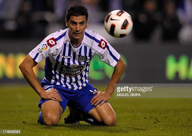 Deportivo de la Coruna's forward Riki reacts after missing a goal opportunity during the Spanish league football match RC Deportivo de La Coruna vs...