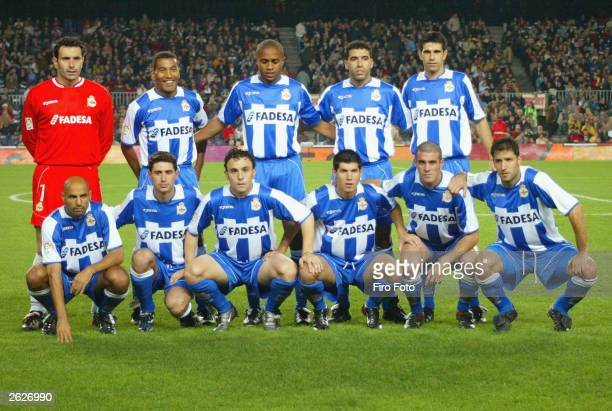 Deportivo La Coruna pose for a team photo prior to the La Liga match between Barcelona and Deportivo at the Nou Camp Stadium on October 18 2003 in...