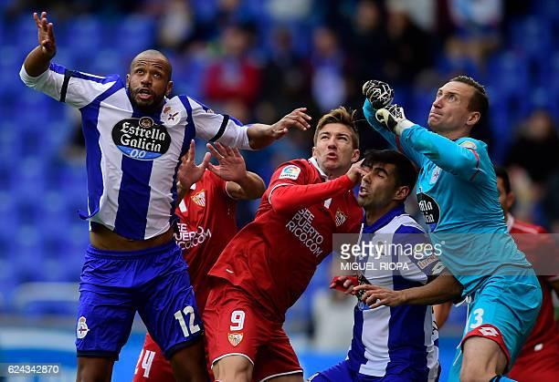 Deportivo La Coruna's Brazilian defender Sidnei , Sevilla's Argentinian forward Luciano Vietto , Deportivo La Coruna's defender Juanfran Moreno and...