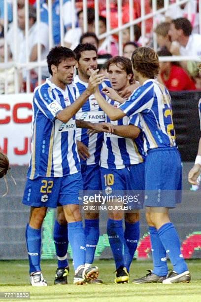 Deportivo la Coruna's celebrates after Riki scoring against Sevilla during a Spanish league football match at Sanchez Pizjuan stadium in Sevilla 07...