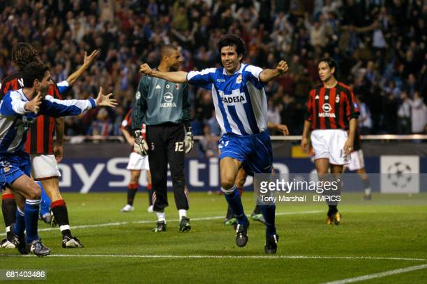 Deportivo La Coruna's Juan Valeron celebrates scoring their second goal against AC Milan
